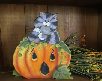 Halloween pumpkin with whimsical cat, hand made and painted from pine ready for a table top display, centerpiece, add to wreath