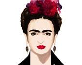 Frida Kahlo, print from original watercolor and mixed media fashion illustration by Dena Cooper