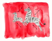 CUSTOM Scalamandre Zebra, printable download from original watercolor and mixed media fashion illustration by Dena Cooper