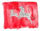 Scalamandre Zebra, print from original watercolor and mixed media fashion illustration by Dena Cooper