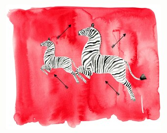 Scalamandre Zebra, print from original watercolor and mixed media fashion illustration by Dena Cooper