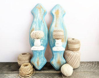 Candle Sconces - Beachy Blue - 2 - Blue and White Wall Decor