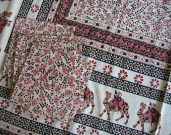 Vintage India Print Cotton Tablecloth and Napkin Set