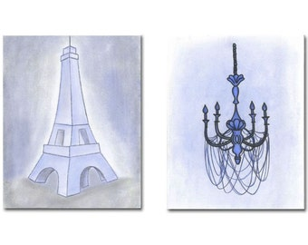 French Nursery Decor, Kids Wall Art, Blue Eiffel, Chandelier Wall Art, Kids Decor, Nursery Wall Art, Nursery Decor, SET OF 2 Prints, Paris