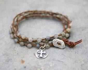 Wrap Bracelet - Beaded Wrap Bracelet - Yoga Bracelet - Bohemian Wrap - Labradorite Gemstone Bracelet - Sterling Silver Cross Charm