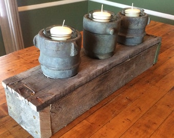 Industrial Decor Fire Fighters Hose Nozzle Candle Holder Pallet Wood Rusty Nails & Mason Jars