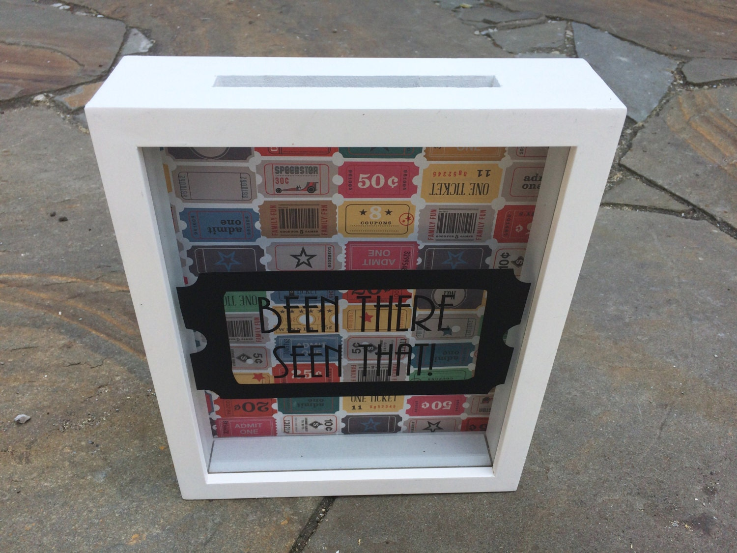 Ticket shadow box ticket holder shadow box art personalized for Money saving box ideas