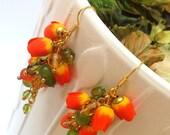 Flower Earrings, Tulip Earrings, Tulip Jewelry, Orange Jewelry, Handmade Earrings, Flowers, Gift For Her, Wedding Jewelry, Anniversary Gift