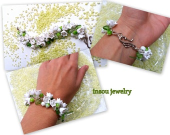 Flower Bracelet Greenery Jewelry Flower Jewelry White Green Handmade Bracelet Floral Lily Of the Valley Romantic Bracelet Bridesmaid Gift