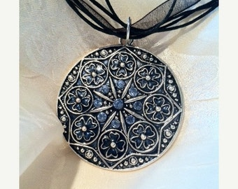 20% SALE Gothic Cathedral Black & Blue Pendant