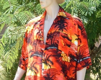 1970s Jamaica M & M FASHION Men's RED Hawaiian/Aloha Shirt - Made in Jamaica - 100% Rayon Men's Size XLarge
