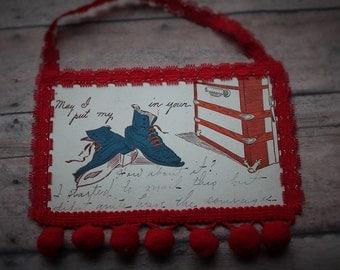 Antique postcard ornament-1904 postcard-poscard wall decor-postcard christmas ornament-christmasgift