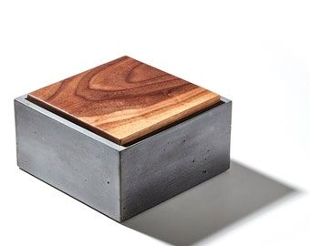 "Summer Sale! 6"" Concrete box with fallen walnut wood lid / large box/ minimalist home decor/ jewelry box/ urn"
