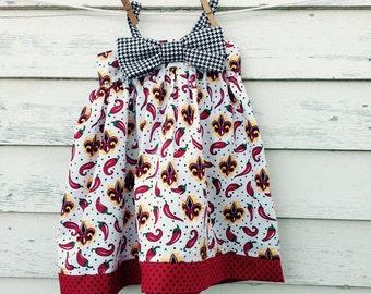 Size 2T UL Ragin' Cajun dress, Girls Dress, Toddler Dress, Ragin' Cajun football, ULL dress, UL Lafayette, Louisiana dress