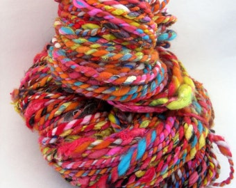 Handspun Art Yarn, Textured Yarn, 2 Ply, Bulky Yarn, Circus Red