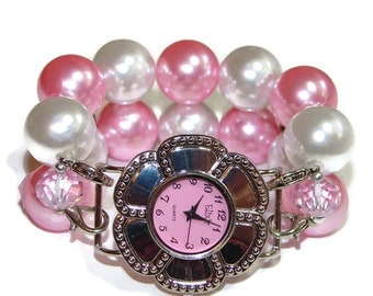 Simply Pink Chunky Beaded Watch - Interchangeable Watch - Double Strand Watch - BeadsnTime - Unique Watch - Easter Watch - Bracelet Watch