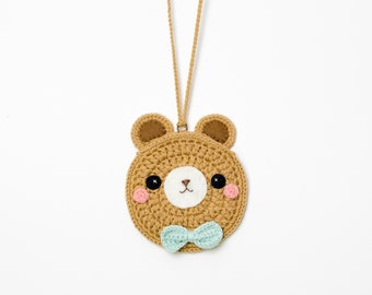 Crochet The Animal Bear Coin Purse (Dark Brown) / Strap Necklace.