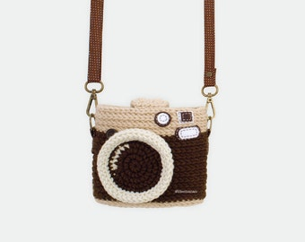 Crochet Case for Fuji Instax Camera - Vintage Camera/ Dark Brown Color