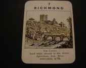 """SALE - Richmond Vintage """"Counties of England"""" Card - Circa 1920s/1930s - Yorkshire - Castle - Trading Card - .65 Cent Shipping / 1.35 Int'l"""