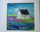 textile art flowers, felt picture, felt with embroidery, art  to frame