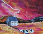 felt painting, felt picture, textile art, sunrise painting, abstract sunrise 20 x 16 inches