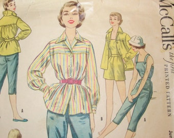 """Vintage 1950s McCall's 3262 Misses Beach Comber Sewing Pattern Bust 32"""""""