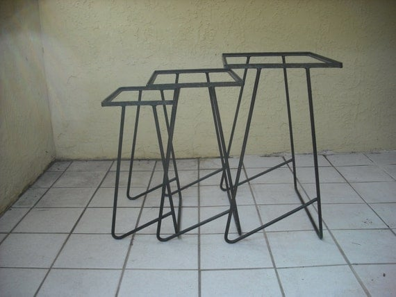 Painted steel wrought iron nesting patio end tables