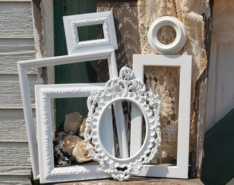 Vintage Style Picture Frames - White Ornate Frame Set - PICTURE FRAMES