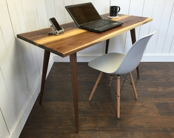 QUICK SHIP-Salisbury mid century modern desk, black walnut with tapered wood legs.