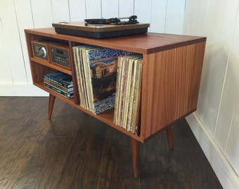 New mid century modern record player console, turntable, stereo cabinet with LP album storage. Sapele mahogany with natural finish.