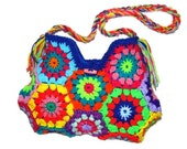 upcicled RETRO Crochet Bag * Multicolor foWer *  Granny Square, Retor, Hippie,