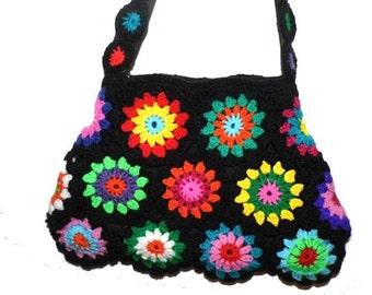 Crochet Bag RainBoW FloWer PoWer Granny Square