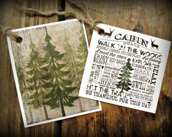 Cabin Rules & Trees Hang Tags