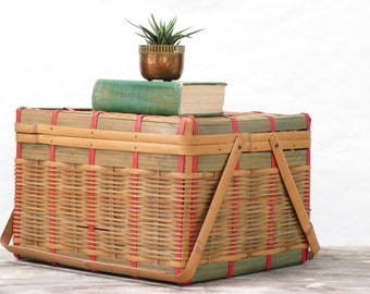 Large Vintage Bamboo 2 Handled Covered Basket - Large Colored Bamboo Covered Storage Basket - Vintage Storage