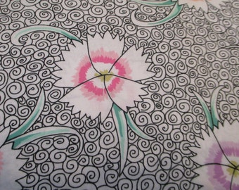 Quilting Weight Cotton Fabric Fall 2013 Dianthus in White designed by Kaffee Fassett for Free Spirit 1 yard