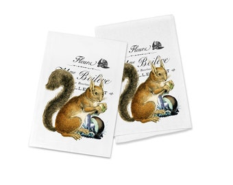 100% Cotton Flour Sack Chef's Kitchen Dish Towel Adorable Woodland Squirrel Great Hostess Gift (one towel)