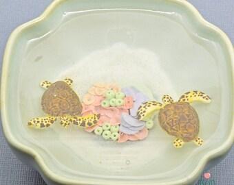 Sea Turtle Glow in the Dark Miniature Pond, Miniature Ocean Pond, Sea Turtle Sculpture, Coral Reef Art, Ocean Sculpture, Office Decoration