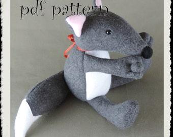Pattern, Wolf Softie E-PATTERN, Downloadable PDF, e- Pattern and instructions for fleece wolf