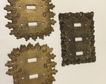 HOLLYWOOD REGENCY SWITCHPLATES, Brass, Highly Detailed at Ageless Alchemy