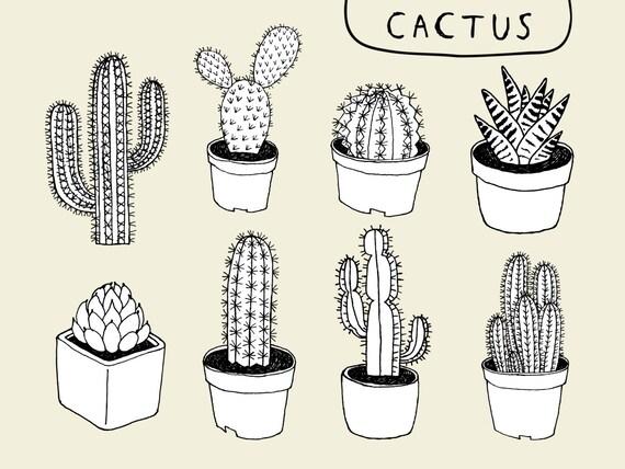 Clipart cactus dessin vectoriel png et eps - Coloriage cactus ...