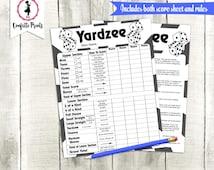 YARDZEE Score Card   Yardzee Score Sheet   Yard Yahtzee   Yardzee Game   Lawn Yahtzee   Yardzee Rules   Yahtzee Lawn Game   Printable