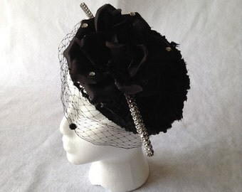 Black Kentucky Derby Style Large Flower Fascinator Hat with Black Chenille Dot Birdcage veil - Black Wedding Dotted Birdcage Veil Fascinator