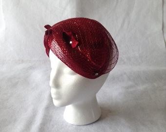 Burgundy 1950s Half Hat,  Burgundy  vintage hat, Wine Red Church hat, burgundy church hat, burgundy wedding hat,