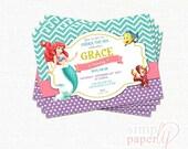 Custom The Little Mermaid Birthday (printable) digital Party Invitation, Under the Sea
