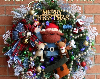 Yukon and Island of Misfit Toys Wreath, Rudolph and Clarice Reindeer Wreath, Snowflake LED Lights,Christmas Wreath, Spotted Elephant, Dolly
