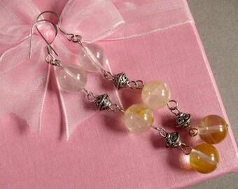 Gemstone Earrings Yellow Iron Quartz 3X 10mm Round Beads 925 ESQI2036