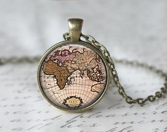 Map Necklace - World Map Jewelry - Globe Necklace - World Globe Pendant - Globe Charm - Gifts for Travelers - Glass Necklace (62)