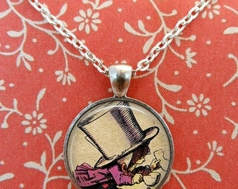 Alice In Wonderland Necklace, Mad Hatter, Glass Necklace, We're All Mad Here, Wonderland, Steampunk, Once Upon a Time T598