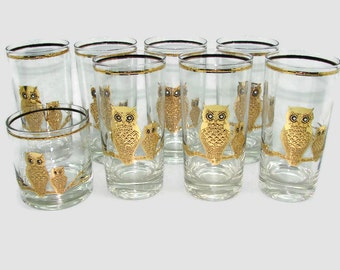 8 Culver Owl Glasses, 7 Gold Owl Tumblers High Balls, Culver Owl Old Fashioned Low Boy, Vintage Barware, 22K Gold Glassware