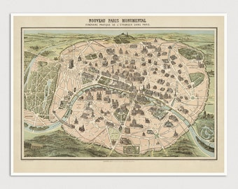 Old Paris Map Art Print 1860 Antique Map Archival Reproduction